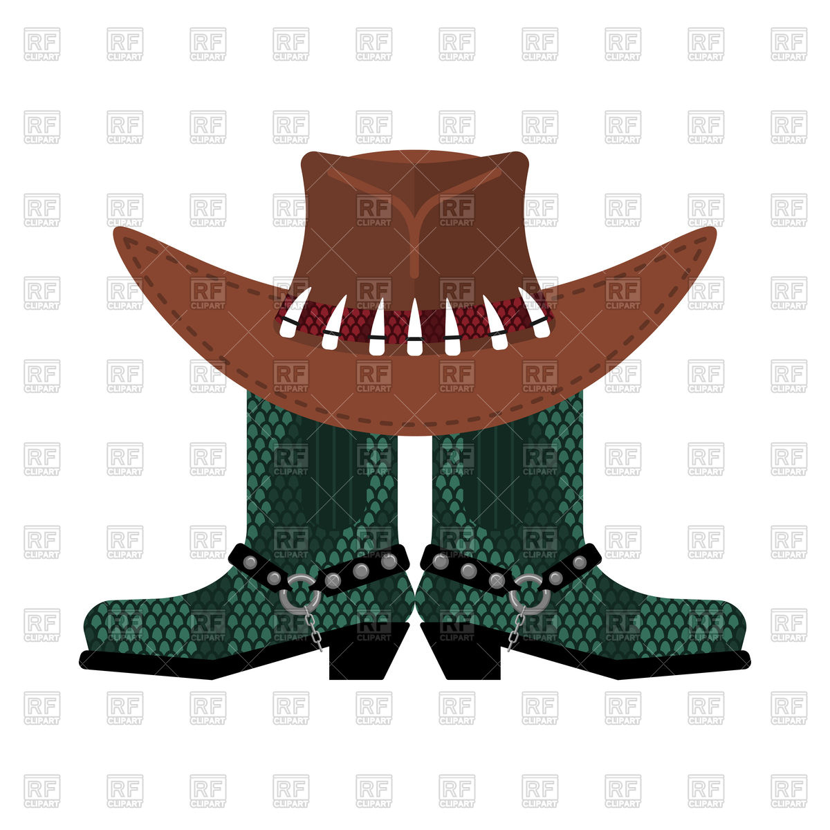 1200x1200 Australian Hat On Crocodile Skin Boots Royalty Free Vector Clip