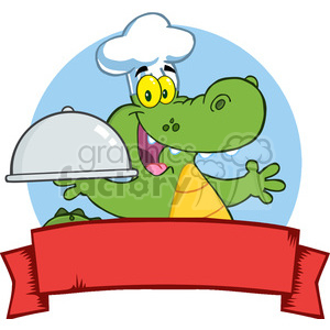 300x300 Royalty Free Happy Crocodile Chef Holding A Platter Over A Blank