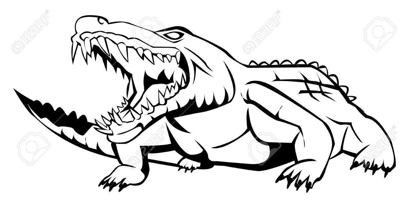 1300x662 Drawn Crocodile Black And White