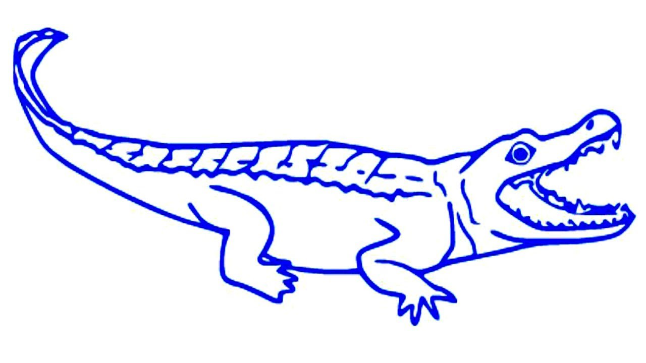 1280x720 Easy Kids Drawing How To Draw A Realistic Crocodile