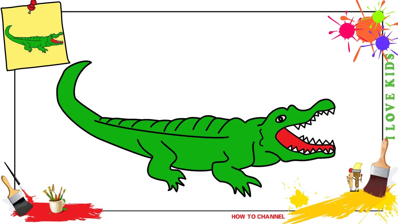 1280x720 How To Draw A Crocodile Easy Amp Slowly Step By Step For Kids