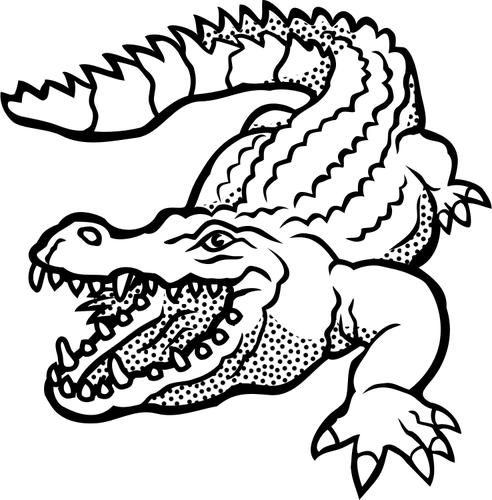 492x500 Vector Drawing Of Spotty Crocodile Line Art Public Domain Vectors