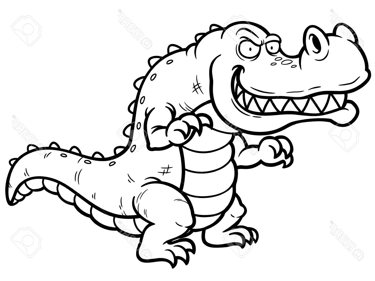 1300x975 Crocodile How To Draw A Crocodile Cartoon Easy Sketch Drawing