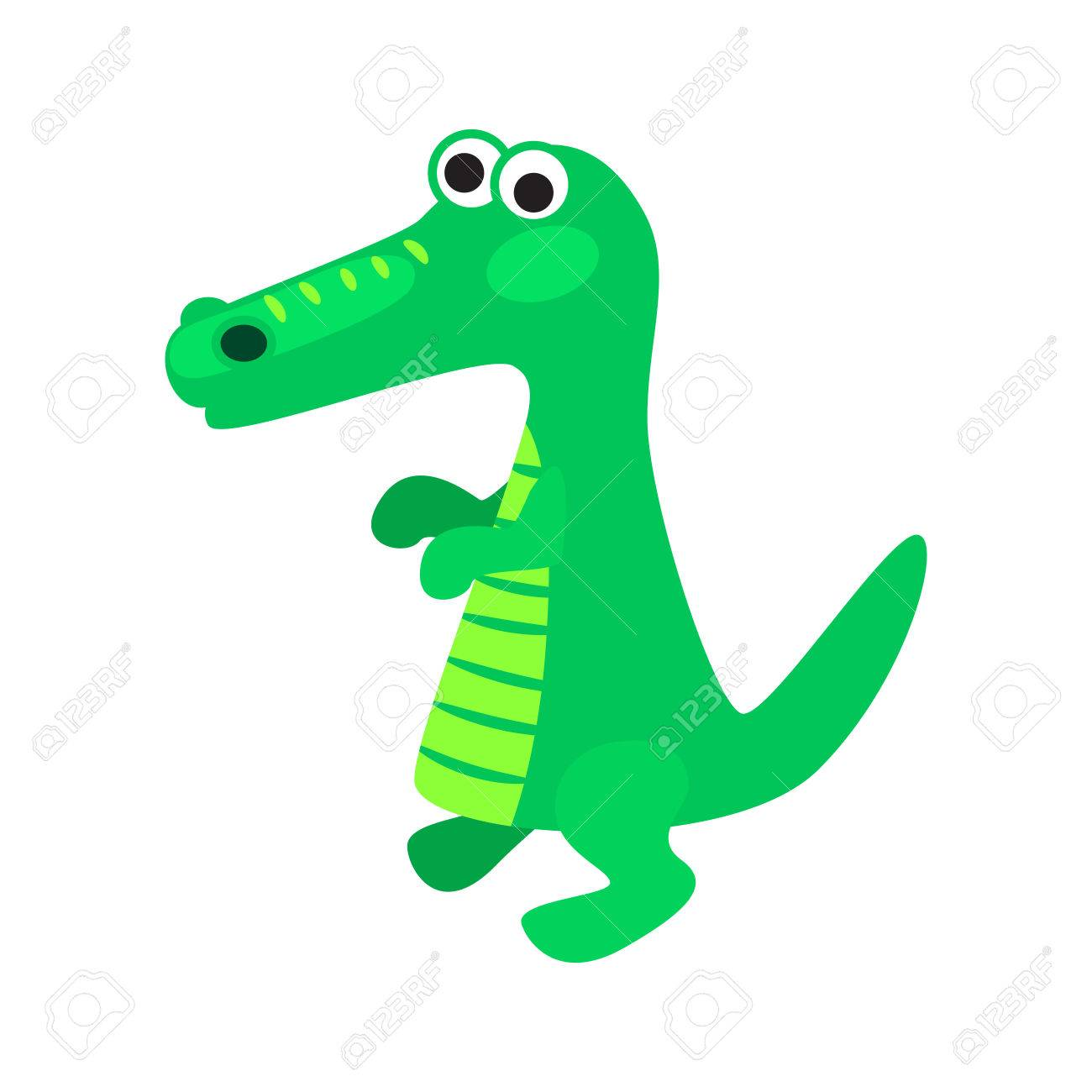 1300x1300 Cartoon Crocodile Vector Illustration. Green Kid Alligator