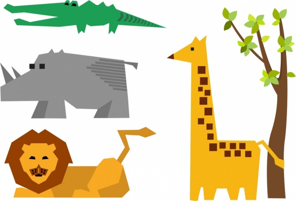 600x407 Lion Rhino Crocodile Giraffe Icons Design Origami Style Free