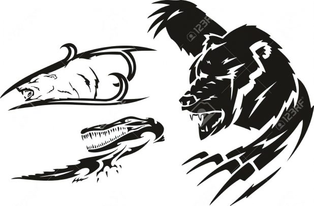 618x406 Angry Crocodile And Bear Polar Tattoo Design Outline Clipart