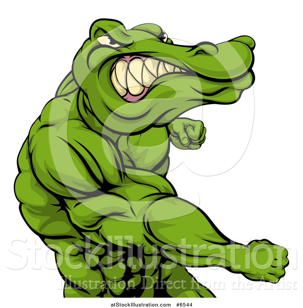 1024x1044 Vector Illustration Of A Tough Muscular Crocodile Or Alligator Man