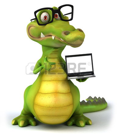 384x450 Cartoon Crocodile With Glasses And Signboard Stock Photo, Picture