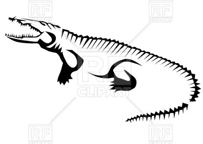400x283 Stylized Contour Of Crocodile (Alligator)
