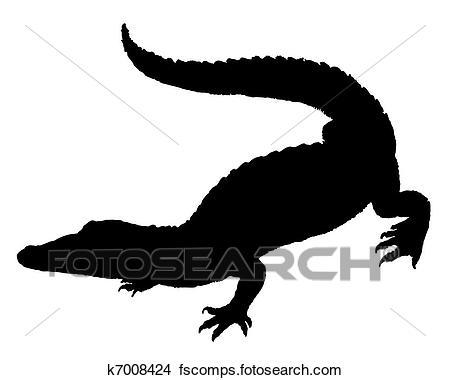 450x380 Clipart Of Crocodile Silhouette K7008424
