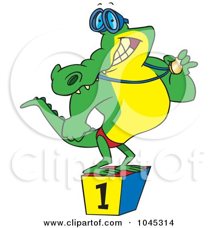 450x470 Clipart Outlined Happy Crocodile Standing Upright And Wearing