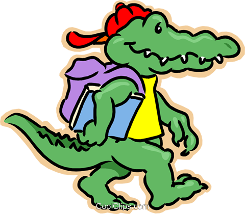 480x420 Crocodile Going To School Royalty Free Vector Clip Art