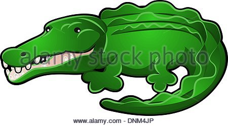 450x250 A Crocodile Or Alligator Safari Animals Cartoon Character Stock