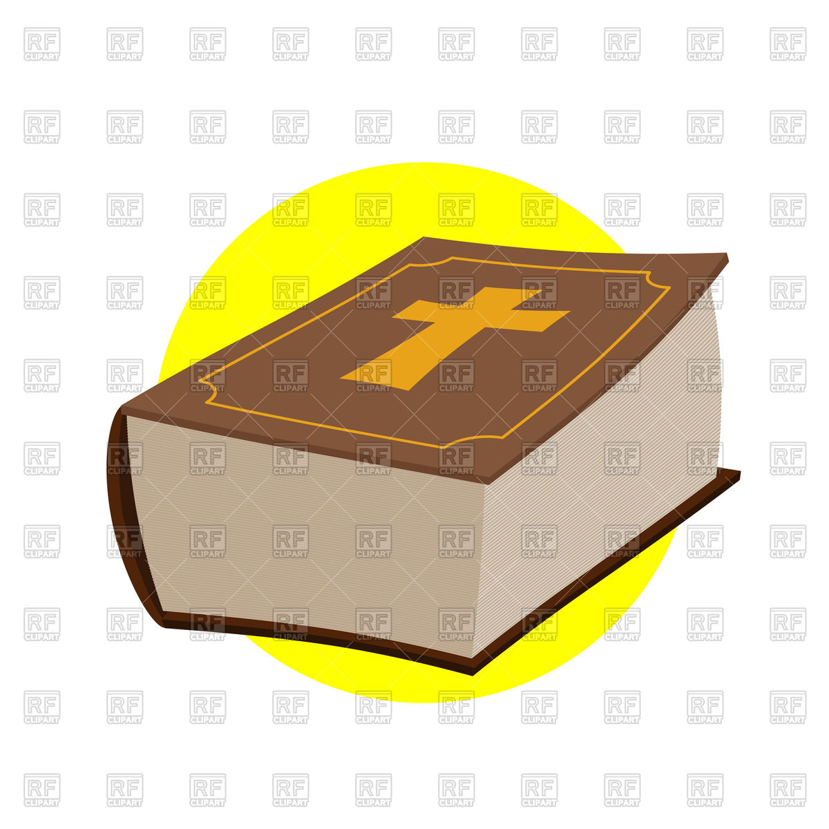 1200x1200 Holy Bible, Closed Old Book With Cross Royalty Free Vector Clip