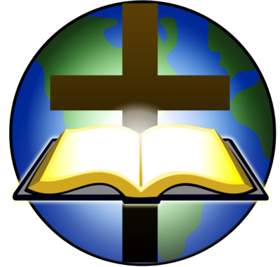 400x382 Image Bible And Cross Before Globe Cross Image