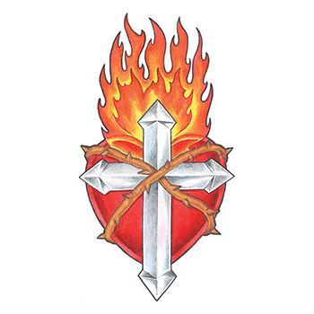 350x350 Flaming Cross And Shield Temporary Tattoo Represents Beliefs