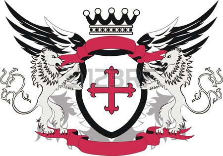 450x316 Grunge Heraldic Shield With Cross Flory And Lions Royalty Free