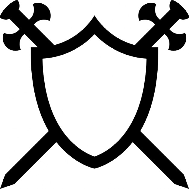 626x626 Shield With Two Swords In Cross Icons Free Download