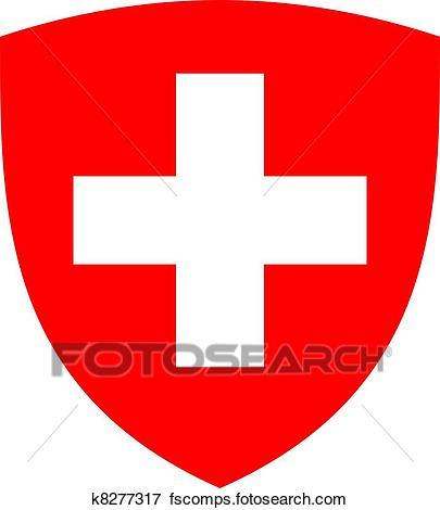405x470 Stock Illustration Of Swiss Cross And Shield K8277317