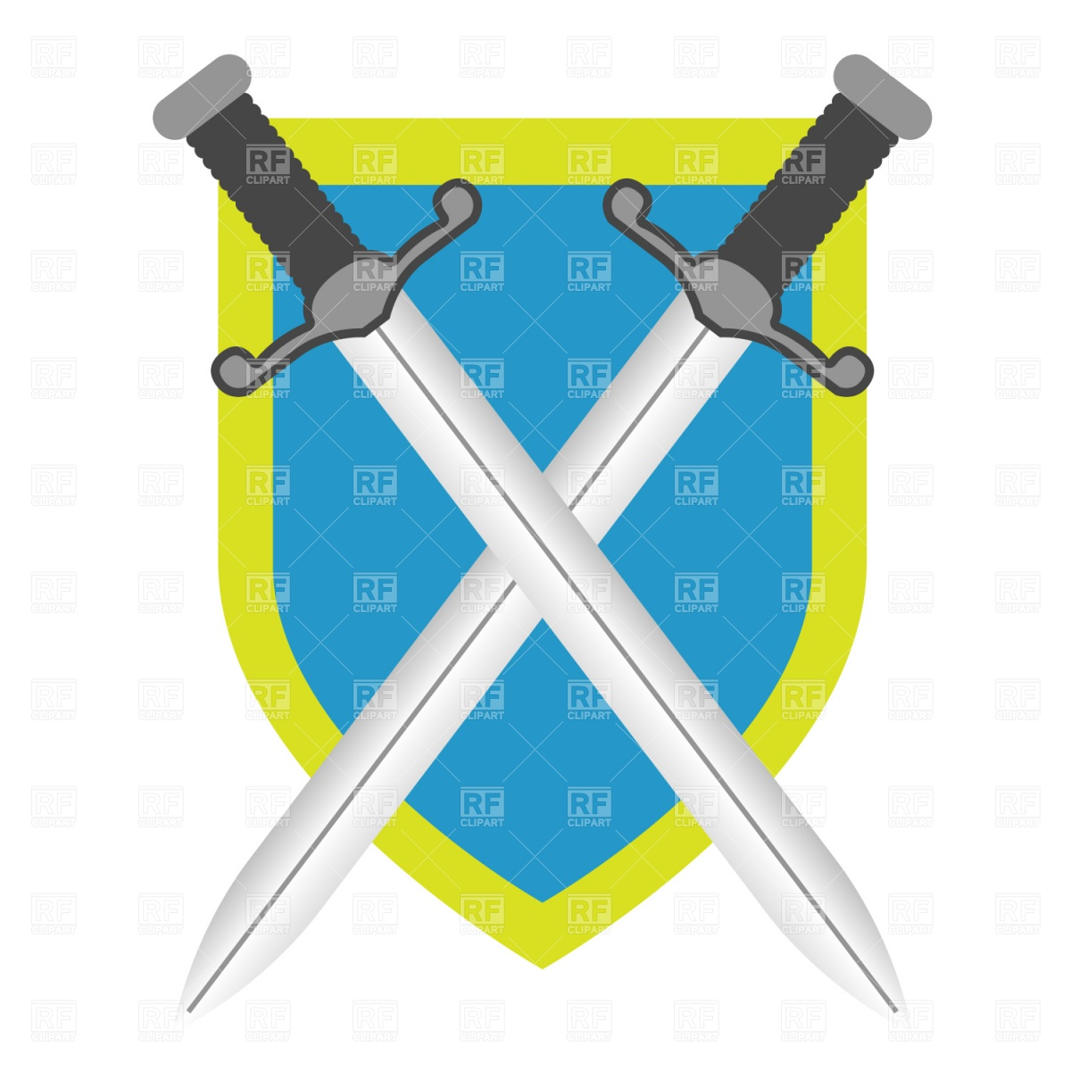 1200x1200 Two Crossed Swords And Shield Royalty Free Vector Clip Art Image