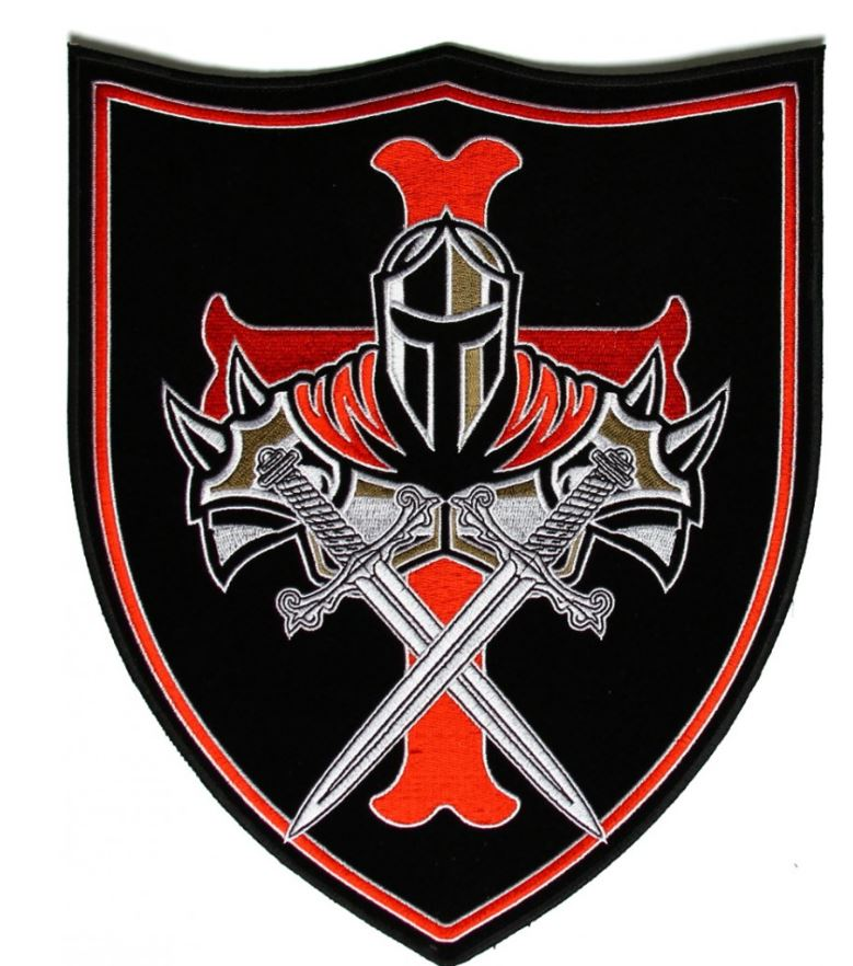 779x882 Us Navy Seal Knight Templar, Red Cross And Shield Large Back Patch