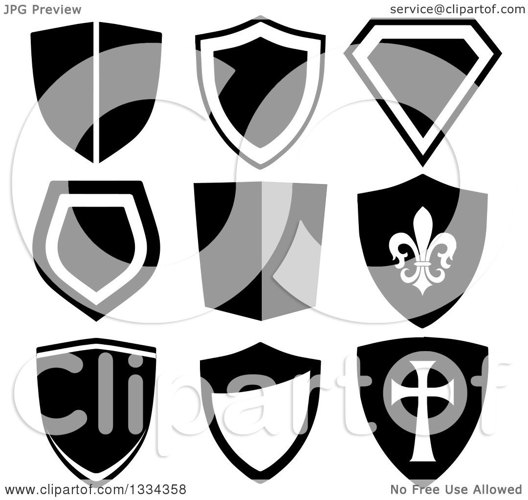 1080x1024 Clipart Of Grayscale Shield Designs, One With A Templar Cross