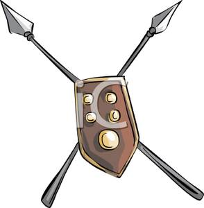 294x300 Cross Spears And A Shield Clipart Picture