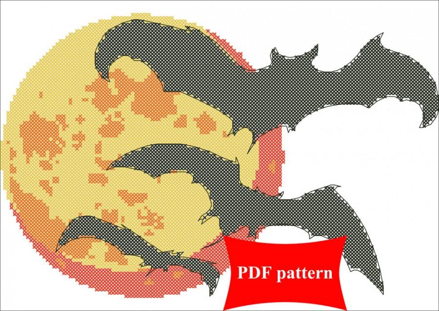 900x638 Bats And Moon. Modern Counted Cross Stitch Pattern Pdf Instant