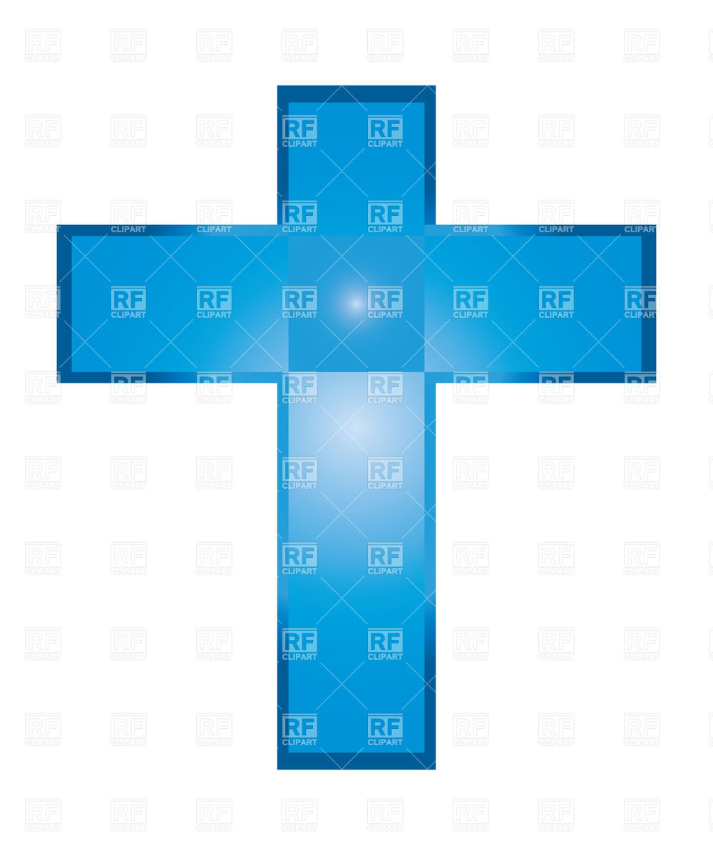 1000x1200 Blue Christian Cross Isolated On White Royalty Free Vector Clip
