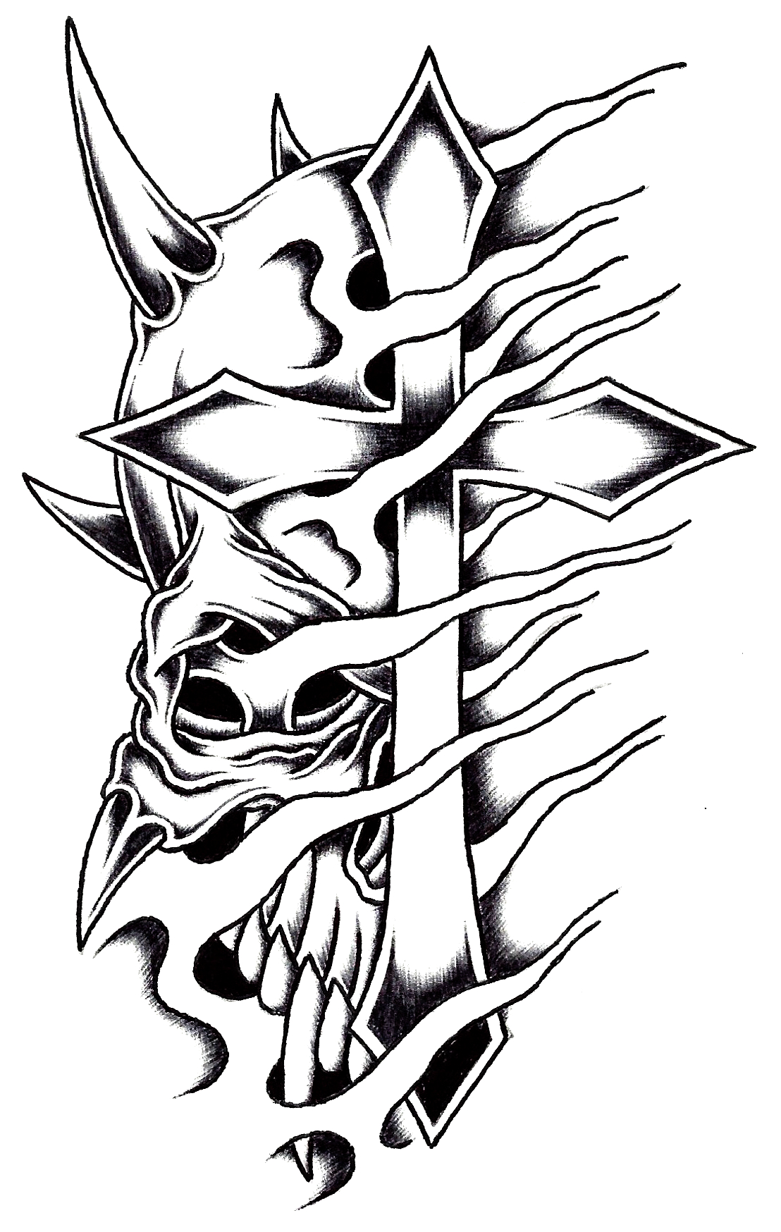 Cross Drawing | Free download best Cross Drawing on ... Skull And Cross Drawing