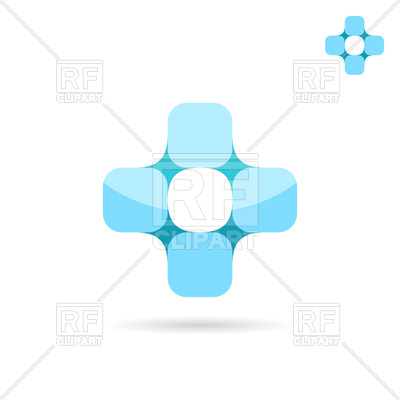 400x400 Connected Squares Forme Medical Cross Shape Royalty Free Vector