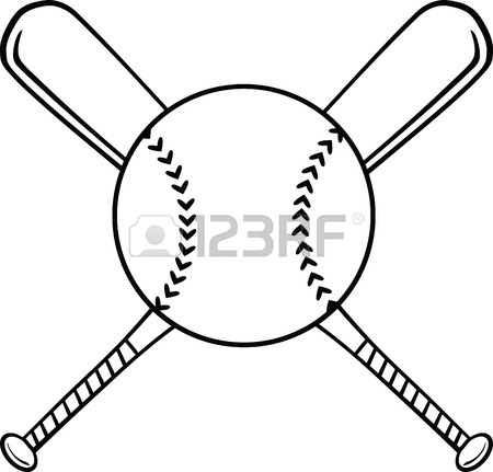 Crossed Baseball Bats Clipart