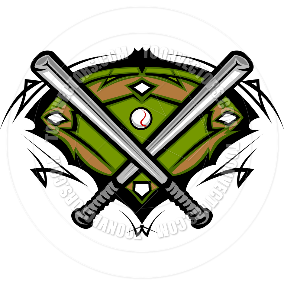 940x940 Baseball Field With Softball Crossed Bats Vector Image By Chromaco