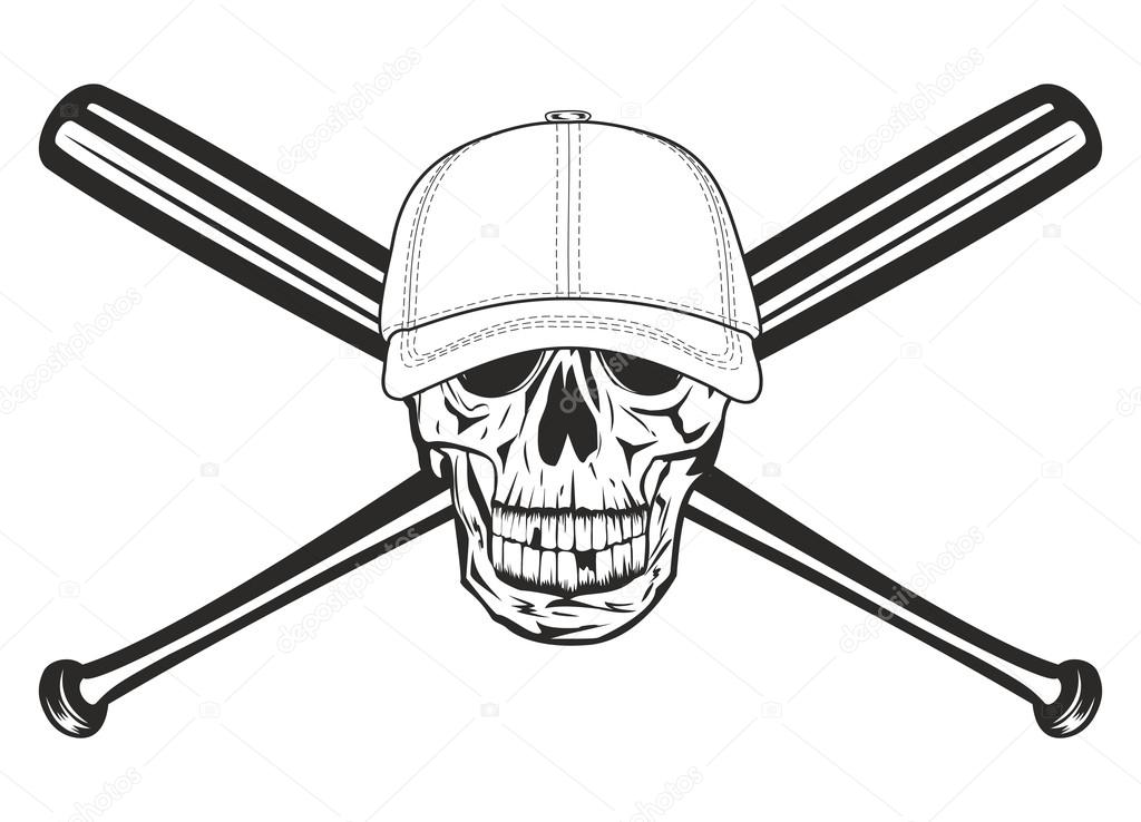 1024x738 Skull And Crossed Bats Stock Vector Ss1001