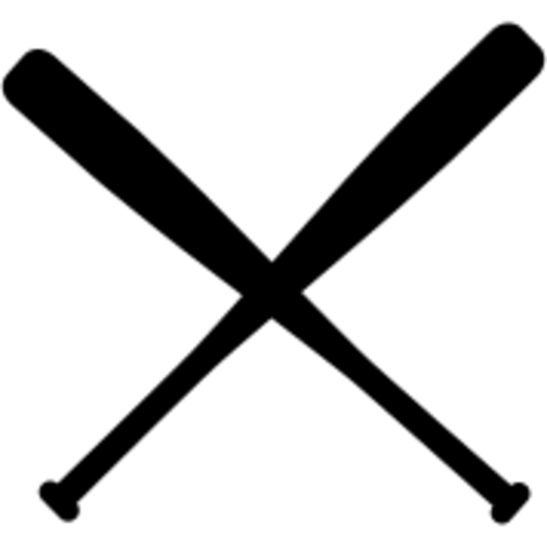 600x600 Crossed Baseball Bats Clipart Black And White