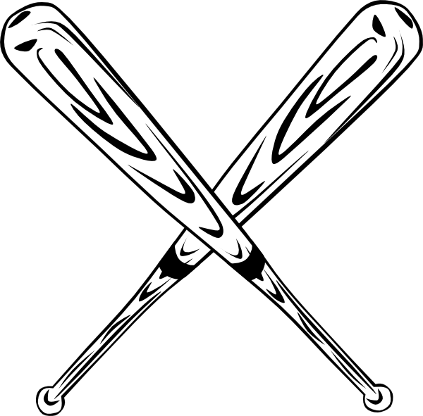 600x591 Crossed Bats Clip Art