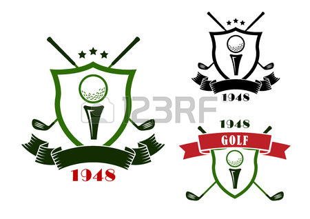 450x318 Golf Club Emblems Or Logo With Balls, Clubs, Tees, Putting Green