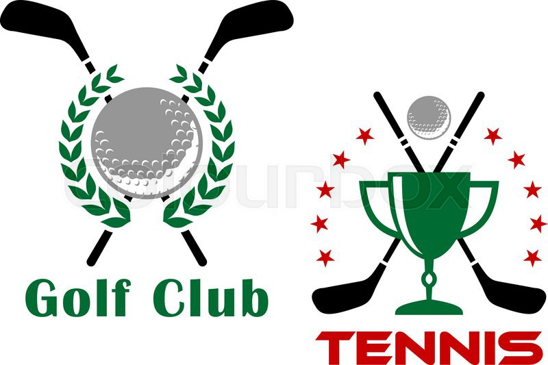 800x533 Golf Club Heraldic Logo Or Emblems Depicting Golf Balls And Trophy