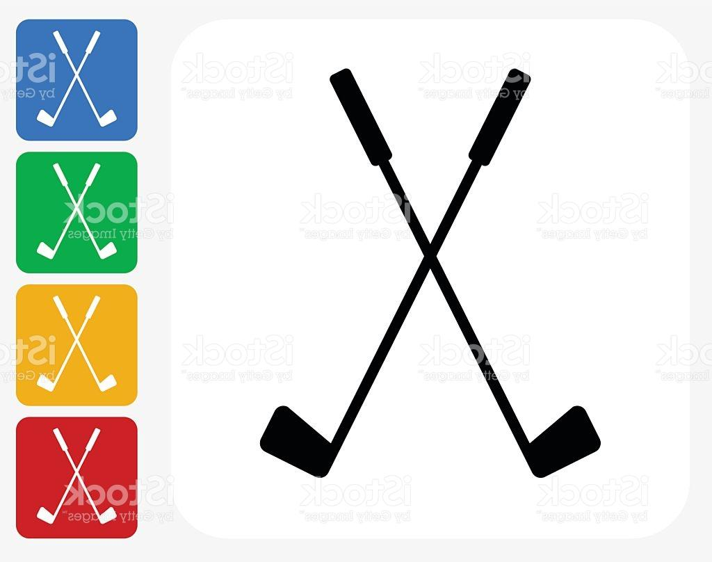 1024x808 Best Hd Two Crossed Golf Clubs Icon Flat Graphic Design Vector Image