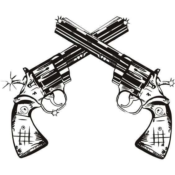 564x564 Gun Twin Pistols Wall Art Stickers Wall Decal Transfers Wall
