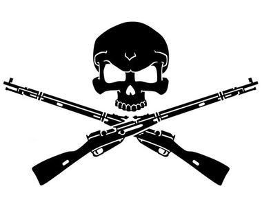 380x300 Gunsmith Skull (Crossed Rifle Amp Ammo) Decal