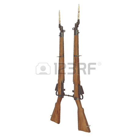 450x450 Old Rifles 3d Illustration. Cross Weapons. Icon Guns. Cracked