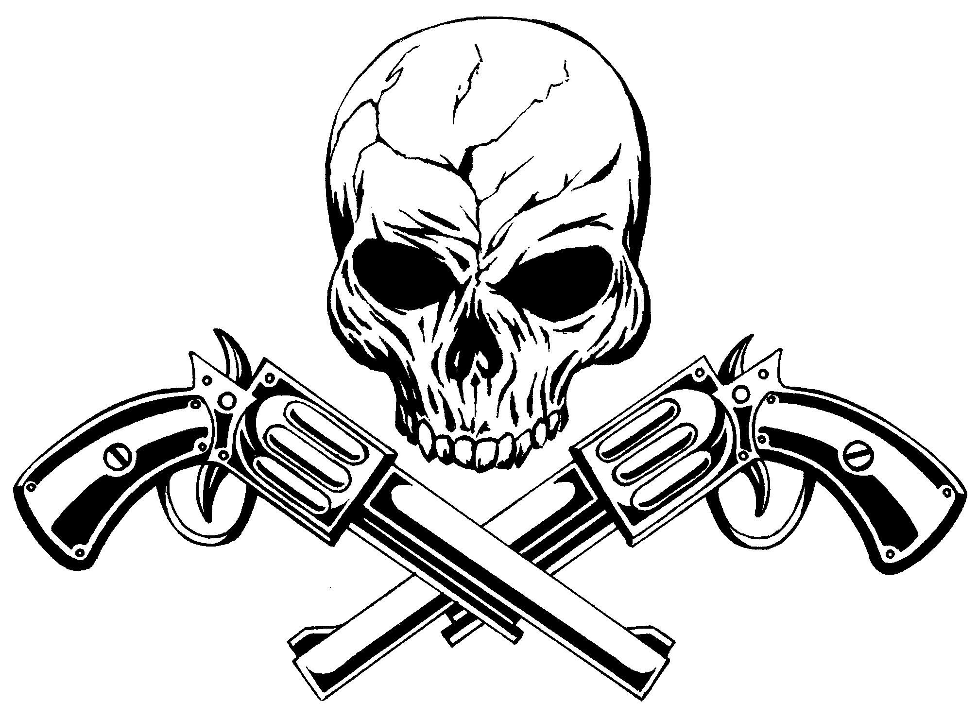 2013x1480 Skull And Guns By Manu17acdc