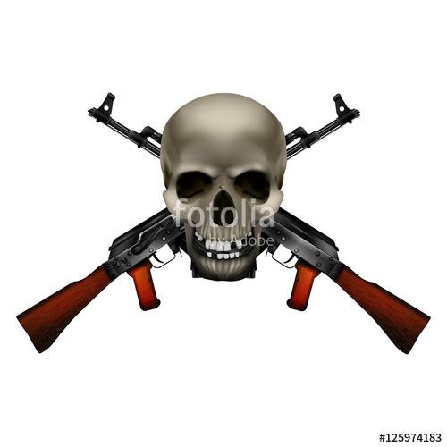 500x500 Skull With Crossed Machine Guns Kalashnikov Ak 47. Isolated