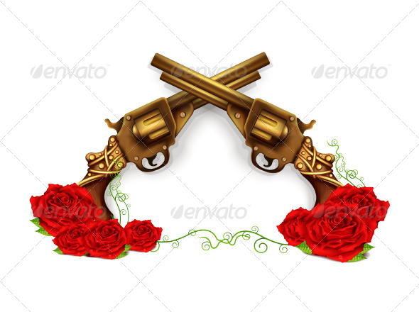 590x440 Vector Crossed Guns With Roses By Magurok Graphicriver