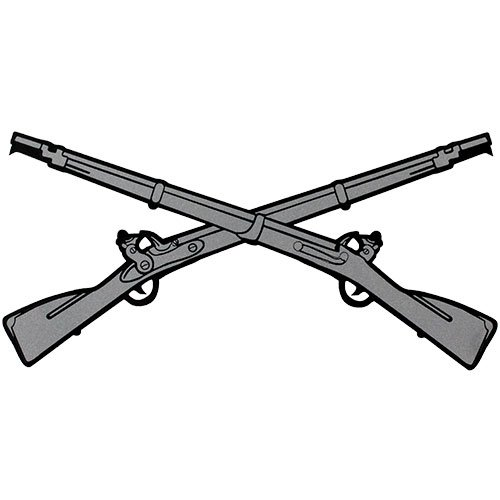 500x500 Infantry Crossed Rifles Clear Decal Automotive