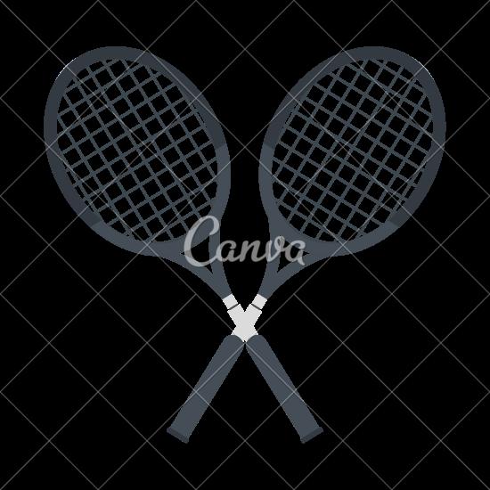 550x550 Crossed Tennis Rackets Vector