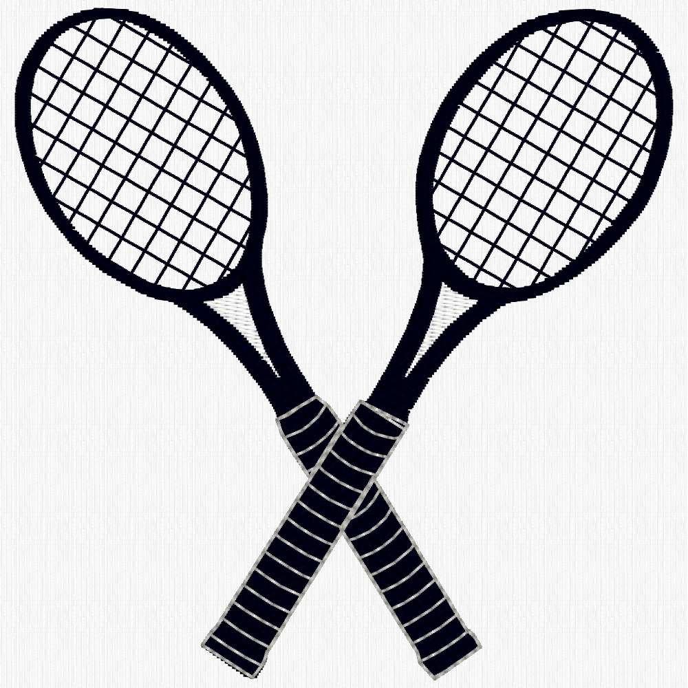 1000x1000 Tennis Racquets Machine Embroidery Design