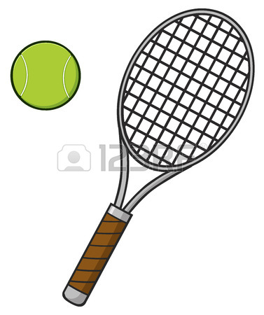 377x450 Crossed Racket And Tennis Ball. Illustration Isolated On White
