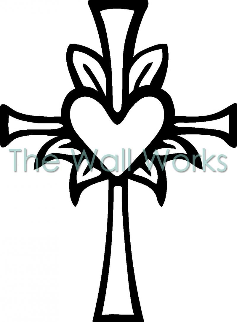 800x1085 Easter Cross With Heart Black And White Clipart